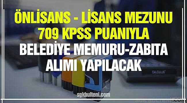 Önlisans Lisans Mezunu 70 KPSS Puanıyla Belediye Personeli Alım İlanı