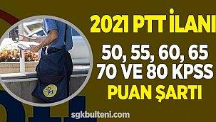 PTT Personel Alımı En Düşük KPSS, 50, 55, 60 65, 70 ve 80 Taban Puan Şartı