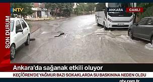 Ankara'da Sağanak Yağmur Su Baskınlarına Neden Oldu
